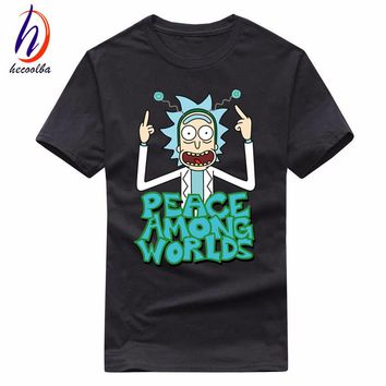 Euro Size,100% Cotton,Men's Anime Rick and Morty Print Tshirt Men Free Rick T-shirt Women Brand-Clothing Poleras Hombre,GT416