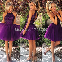 New Arrival Purple Short Prom Dress 2015 Heavy Beaded Homecoming Dress Ruched Party Gowns Sexy Open Back Cocktail Gown Plus Size
