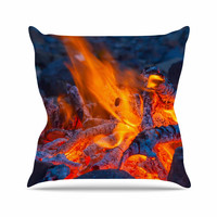 "KESS Original ""Red Hot"" Blue Orange Throw Pillow"