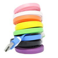 Free shipping USB 2.0 Cute noodle shape Charger Cable For iPhone 5 5g 5S 5C 6 6 Plus for iPad Mini iPod Touch 5 Nano 7 ios 7 8