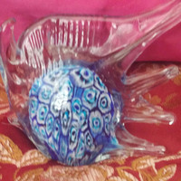 Vintage Glass Angel Fish Murano Style Paper Weight With Vibrant Blue MILLEFIORI Design
