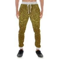 Gold Glitter Men's All Over Print Casual Jogger Pants