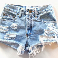 Custom Ripped High Wasted Shorts by BohoChildGarments on Etsy