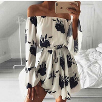 Print Sexy Backless One Piece Dress [11294267599]