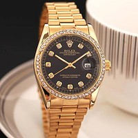 Rolex Fashion Casual Business Men's and Women's Splicing Color Dial Diamond Steel Band Watch