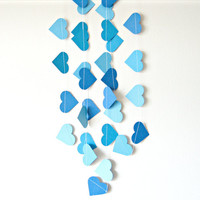 Blue Heart Garland - paper heart garland, home decor, kids room decor, nursery decoration, party decor