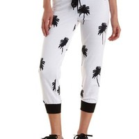 White/Black Palm Tree Print Cropped Jogger Pants by Charlotte Russe