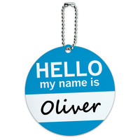 Oliver Hello My Name Is Round ID Card Luggage Tag