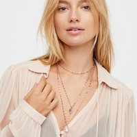 Shimmer Chain Stone Necklace