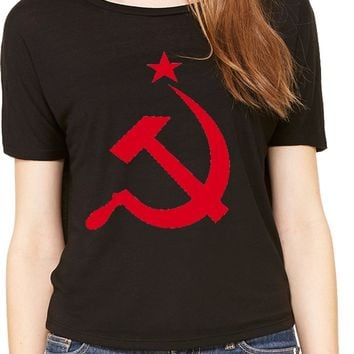 Ladies Soviet Union T-shirt Red Hammer and Sickle Open Back Tee