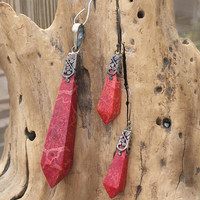 Red Jasper Sterling Silver Pendant Earrings Set