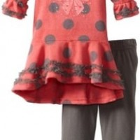Little Lass Baby Girls' 2 Piece Bell Sleeve Brushed Legging Set, Coral, 12 Months
