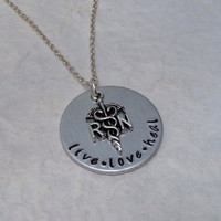 """Hand Stamped Aluminum Necklace / RN Necklace with RN Nurse Charm / """"live love heal"""" RN Hand Stamped Necklace / Hand Stamped Jewelry"""