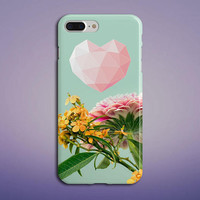 Geometric Pink Heart x Summer Flowers Phone Case for iPhone 8, iPhone 7 Plus, Samsung Galaxy s8, s7 edge,Note 8, S8 Plus, Google Pixel