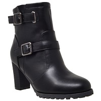 Womens Ankle Boots Gold Buckle Strap  Block Heel Booties Black
