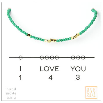 Friendship Bracelet - I Love You 143 - Emerald