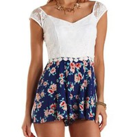 Lace & Floral Print Romper by Charlotte Russe - Blue Combo