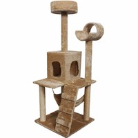"""52"""" Cat Kitty Tree Tower Condo Furniture w/ Scratch Post and Bed - Beige"""