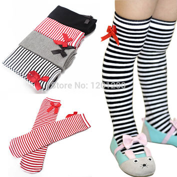 Hot Sale Striped High Knee Warm Baby Sockings With Bowknot Cotton Leg Warmers For 1-8 years Kids