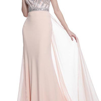 PRIMA 17-204046 Peach Jeweled Sheer Illusion Prom Dress Evening Gown