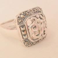 Stunning Sterling vintage open cut design Marcasite Ring Size 8