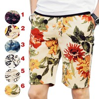 Summer Men Board Pants Printed Five Pants Casual Thin breathable Beach  Trousers H9