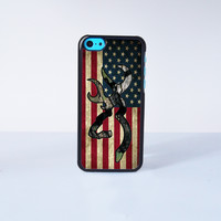 Browning Deer Camo American Flag Plastic Case Cover for Apple iPhone 5C 6 Plus 6 5S 5 4 4s