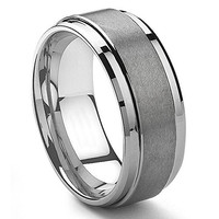 9MM Tungsten Metal Men's Wedding Band Ring in Comfort Fit and Matte Finish
