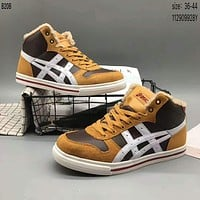 Arthur asics leather high-top fashion trendy shoes F-A36H-MY Brown + white line