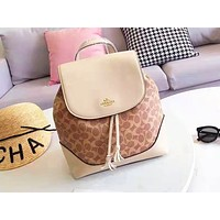 Coach hot seller of shopping bag with women's printing and color stitching Apricot