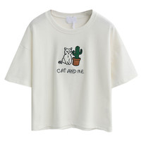 White Cat Patch Short Sleeve Cropped T-shirt