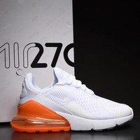 Nike Air Max 270 White Orange Sport Running Shoes AH8050-102 - Best Online Sale