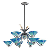 ELK 9 Light Chandelier In Polished Chrome And Carribean Glass - 1476/6+3CAR