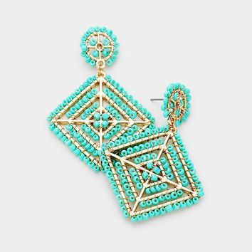 """2.25"""" turquoise seed bead earrings basketball wives"""