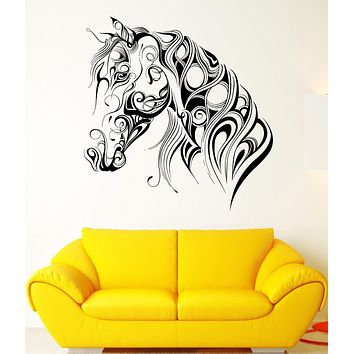 Wall Vinyl Sticker Decal Pattern Horse Head Animal Art Racehorse Mane Unique Gift (ed405)