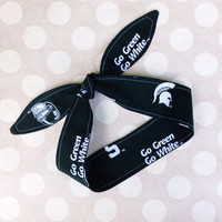 Game Day - MSU SPARTANS Green & White - Adult Dolly Bow Tie Up Headscarf Headband Bandana Hair Accessory Boho Preppy - Michigan State Sparty