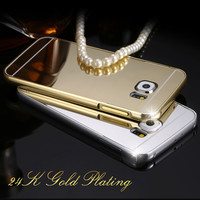 S6 Fashion Plating Metal Luster Phone Cover For Samsung Galaxy S6 G9200 Aluminum Frame Acrylic Case For Galaxy S6 Drop Shipping