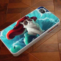 Little Mermaid Grumpy Cat  customized for iphone 4/4s/5/5s/5c ,samsung galaxy s3/s4/s5 and ipod 4/5