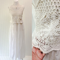 Safire dress // 1990s sheer white cotton slouchy babydoll hippie boho grunge maxi // dreamcatcher crochet // size M