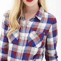 FOREVER 21 Check Plaid Shirt Royal/Wine