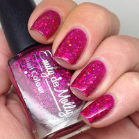 """Nail polish - """"Fashion Victim"""" pink holographic glitter in a pink jelly base"""