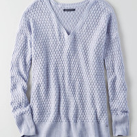 AEO Textured V-Neck Sweater , Lively Lilac