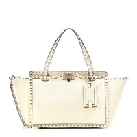 Rockstud fabric and leather tote