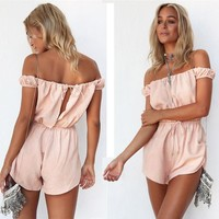 Off Shoulder Pure Color Sleeveless Short Jumpsuit