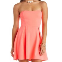 Textured Strapless Bow-Back Skater Dress - Neon Coral