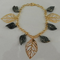 Gold and Green Leaves Bracelet - The Beauty of an Autumn Leaf