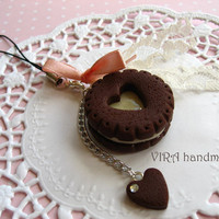 Kawaii cute handmade polymer clay chocolate cookie vanilla cream pink bowknot lace cell phone strap charm