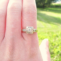 Vintage European Cut Diamond Engagement Ring, 14K Gold, Late Art Deco to Early Retro, Circa 1930s to 1940s