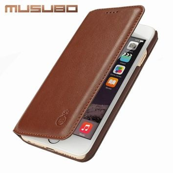 Musubo Ultra Slim phone Case for iPhone 7 Plus Genuine Leather Luxury Cases Cover for Apple iPhone 6 Plus 6s 5 5s SE Flip cases