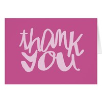 Pink and Fuchsia Modern Type Thank You Notecard